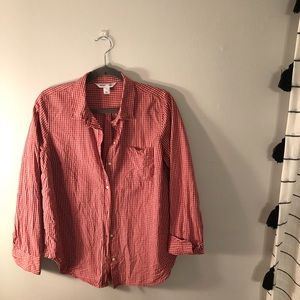 Coral / White Checked Button Down Blouse